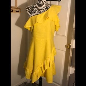 A New Day Yellow One Shoulder Ruffle Dress